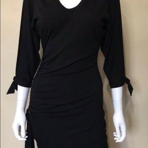 Cache Dresses - Cache Ruched skirt split 3/4 sleeve dress. Blue.